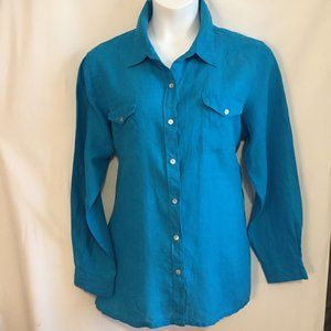 Lino by Chicos Shirt size 3 14 16 Linen Relaxed